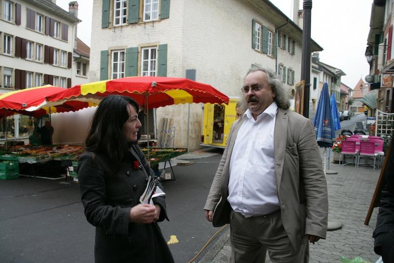 Géraldine Savary et Luc Recordon au marché